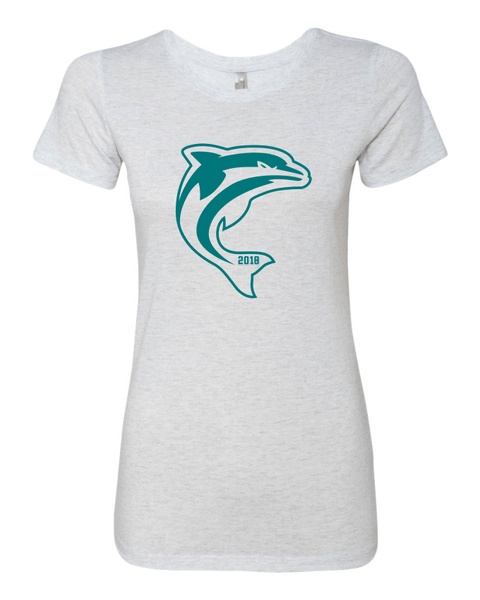 6710 Dolphins Ladies Tri-Blend T-shirt Heather White