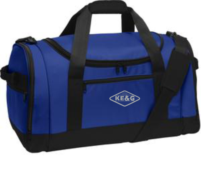 KE&G Port Authority Voyager Sports Duffel Embroidered with centered logo