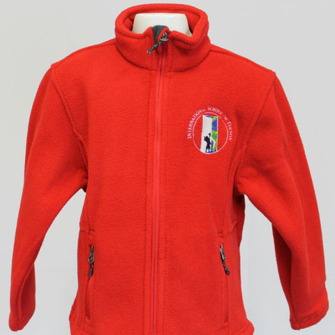 IST School Uniform Fleece Jacket Red Embroidered with logo on left side of chest