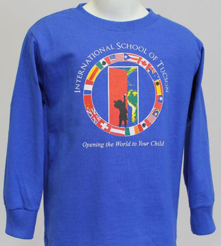 IST Preschool Uniform Long Sleeve Screen Printed Shirt with front logo Royal