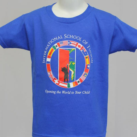 IST Preschool Uniform Short Sleeve Screen Printed Shirt with front logo Royal