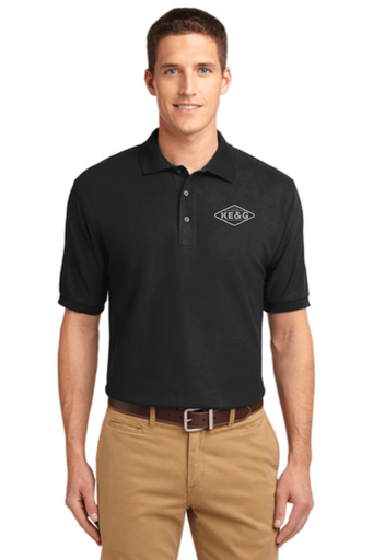 KE&G Port Authority Unisex Silk Touch Polo Black