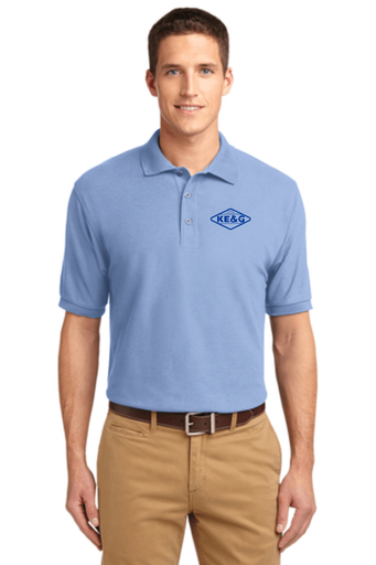 KE&G Port Authority Unisex Silk Touch Polo Light Blue