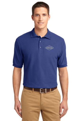KE&G Port Authority Unisex Silk Touch Polo Mediterranean Blue