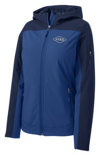 KE&G NEW Port Authority Ladies Hooded Core Soft Shell Jacket Embroidered with logo on left side of chest