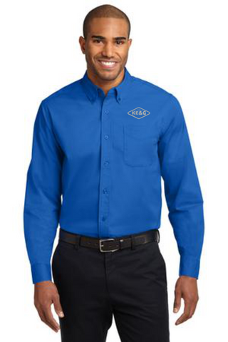 KE&G Port Authority Long Sleeve Easy Care Shirt Embroidered with logo on left side of chest Strong Blue
