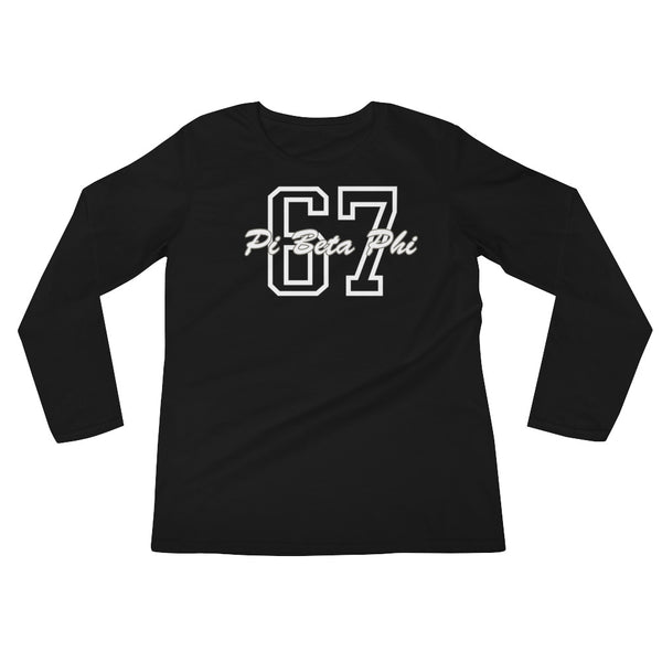 Ladies' Long Sleeve Screen Printing T-Shirt Black
