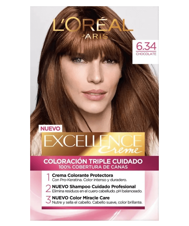 L'Oreal Tratamientos 6.34 CHOCOLATE Excellence Créme Permanent Triple Protection Hair Color
