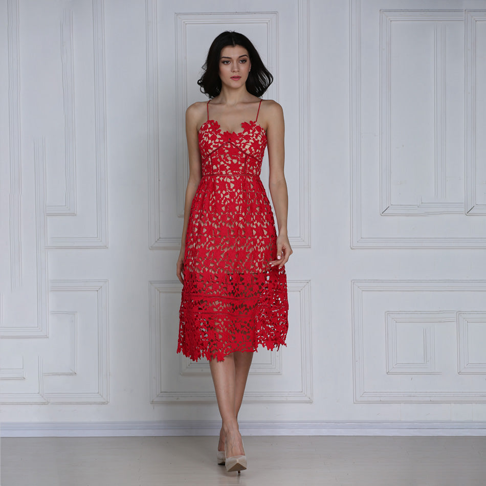 Red One Strap Knee Length Dress