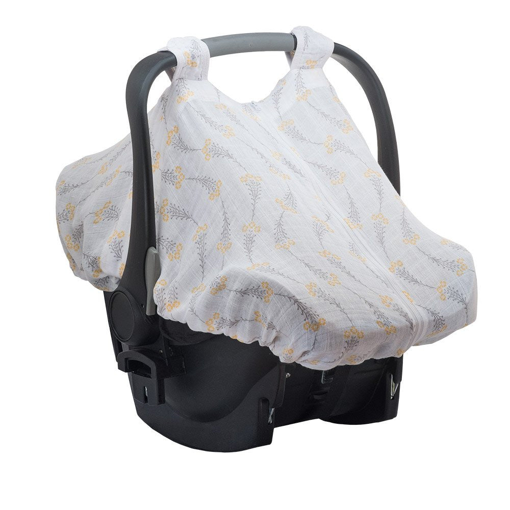 Premium Muslin Car Seat Cover - Wildflowers