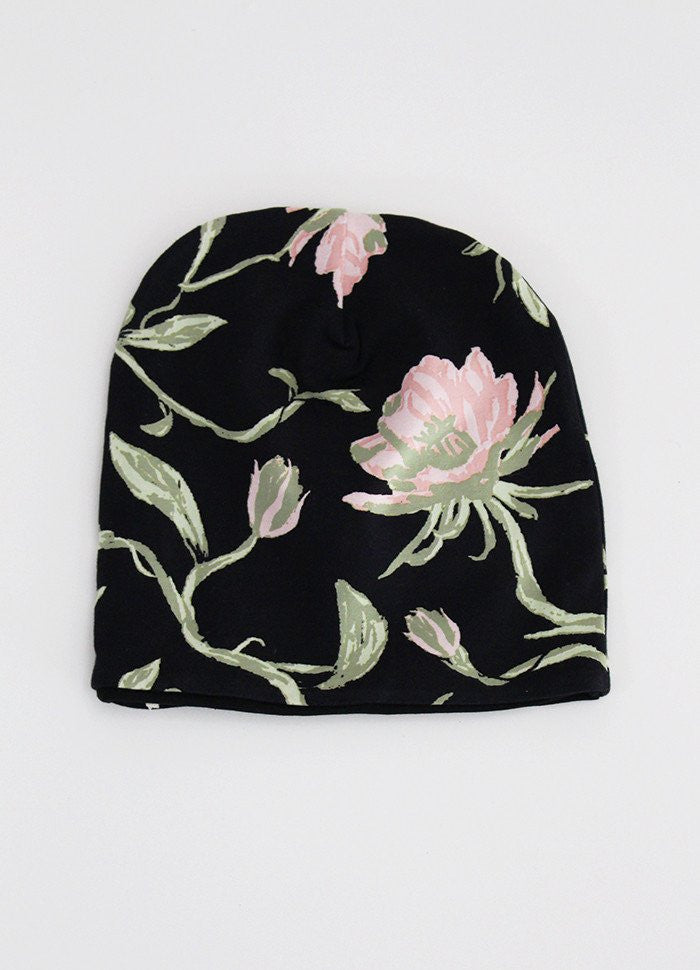 SundayTheLabel Slouch Beanie - Reversible Brahma Floral / Solid Black