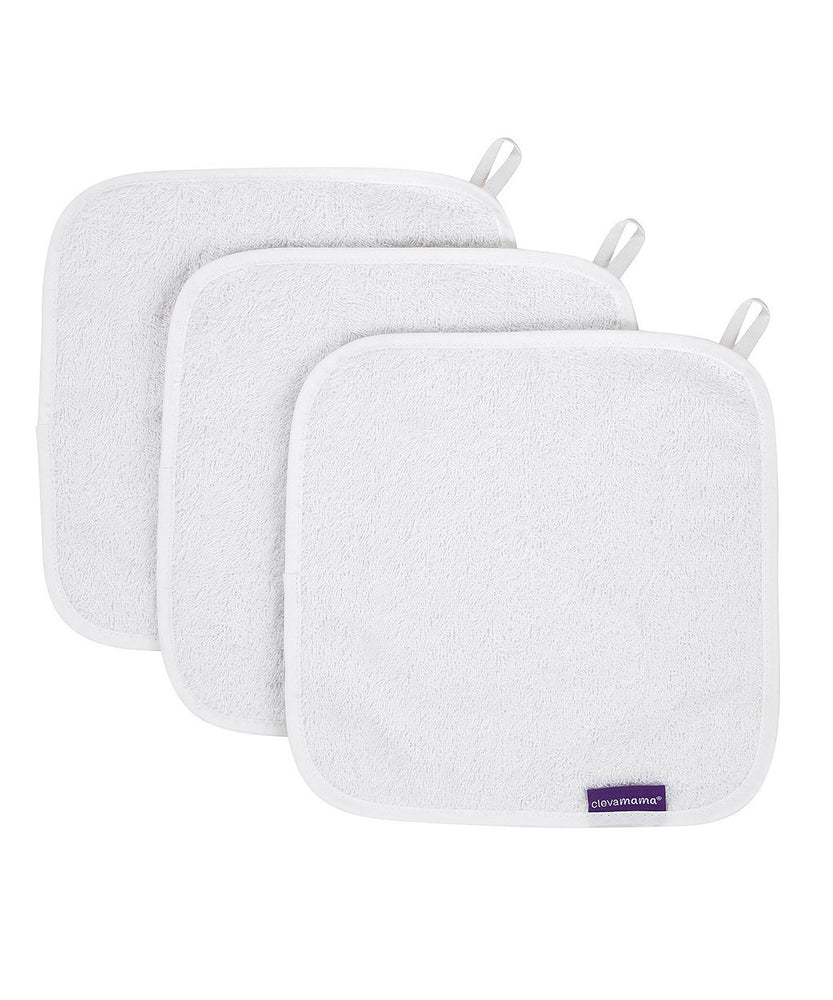 Bamboo Baby Wash Cloth set (3pk) - white ON CLEARANCE
