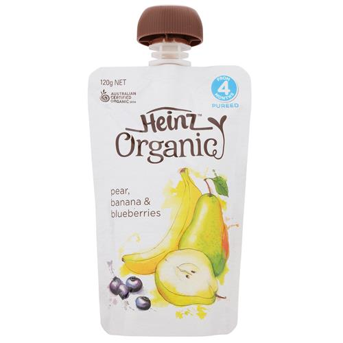 Heinz Organic Food Pouch - Pear, Banana & Blueberries