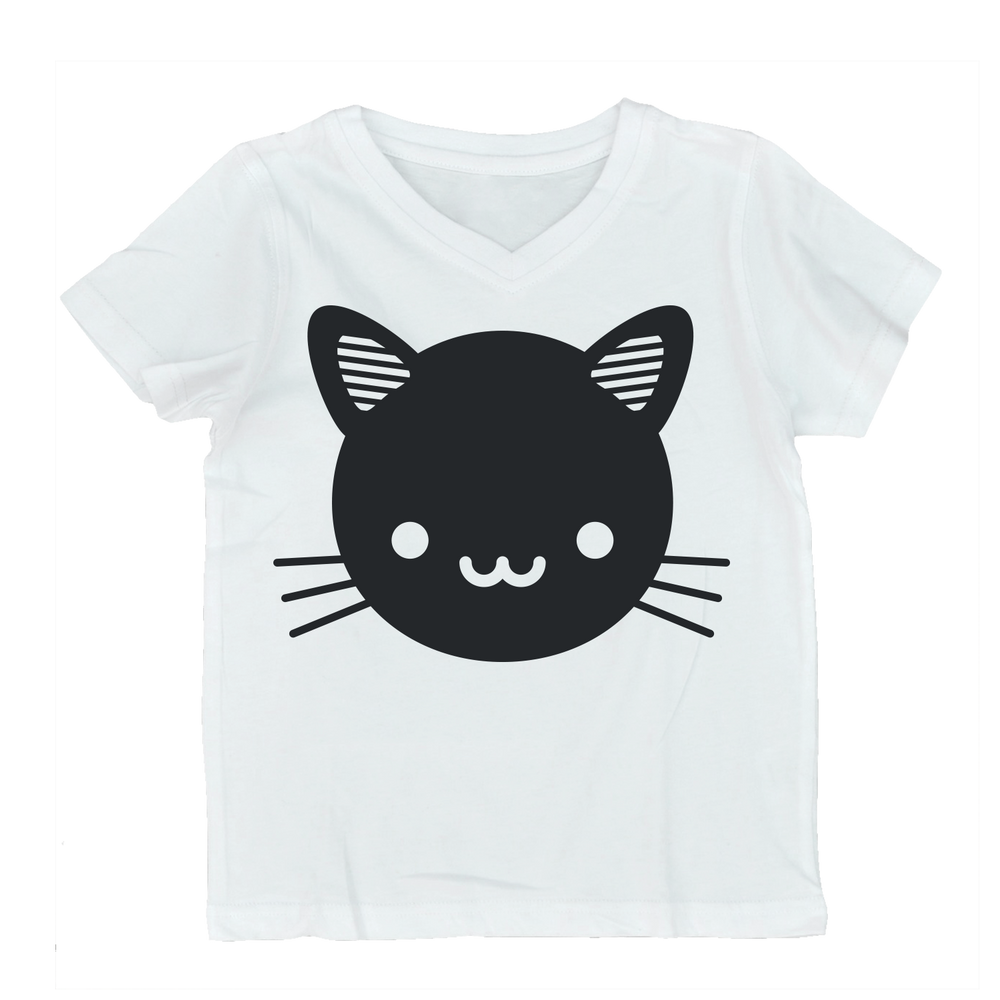 Whistle & Flute V-neck - Kawaii Black Cat