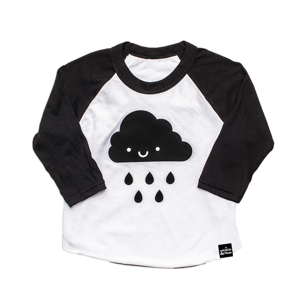 Whistle & Flute Raglan - Kawaii Cloud Baseball White