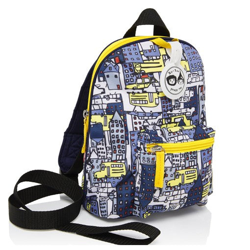 ZnZ Mini Backpack & Safety Harness /Reins Age1-4 Years - City Print