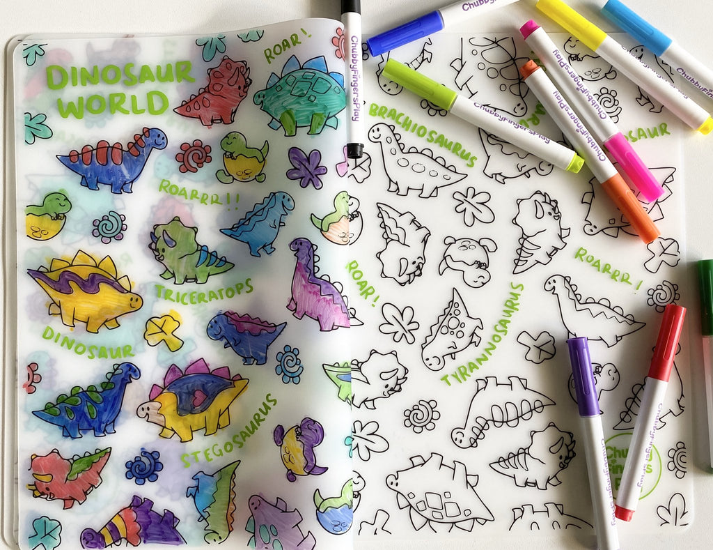 Colouring Placemat + Washable Marker Set
