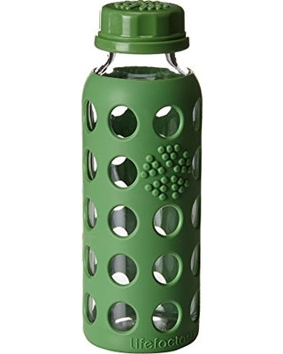 Glass Bottle With Silicone Sleeve 9oz (Flat Cap)
