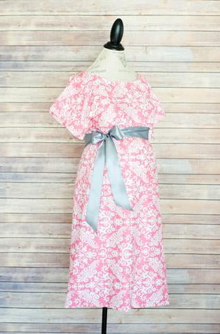 Maternity Hospital Gown - Pink Damask(Silver Sash)
