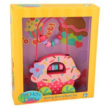 Stephen Joseph - Rolling Wire & Bead Toy - Cupcake