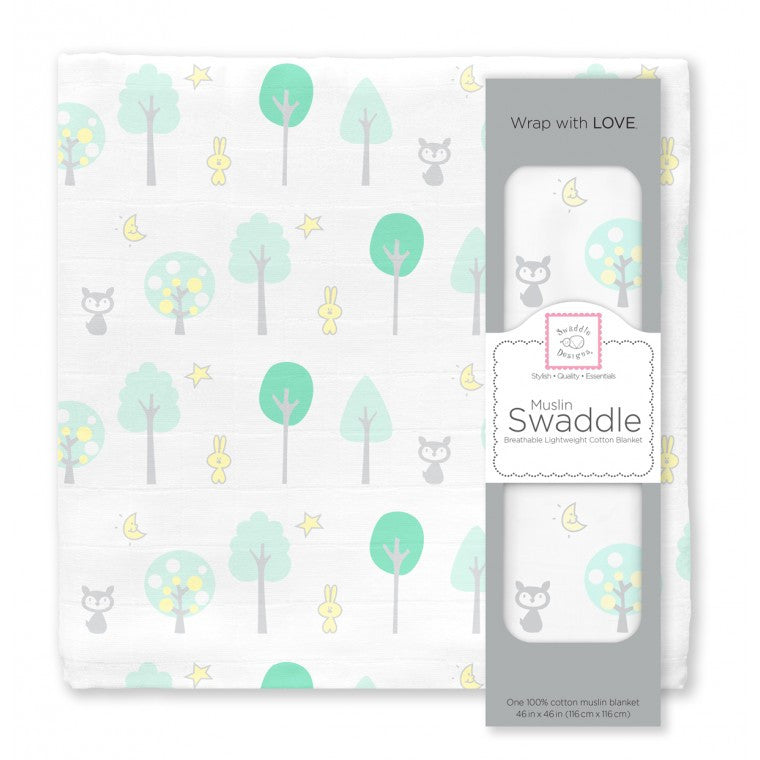 Swaddle Designs - Muslin Swaddle Blanket - Green Woodlands