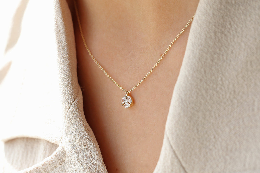 14k Marquise Diamond Cluster Necklace - Ferkos Fine Jewelry