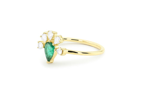 14k Gold Pear Shape Emerald Ring with Rose Cut Diamonds