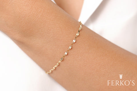 14K Gold Sparkle Chain Bracelet