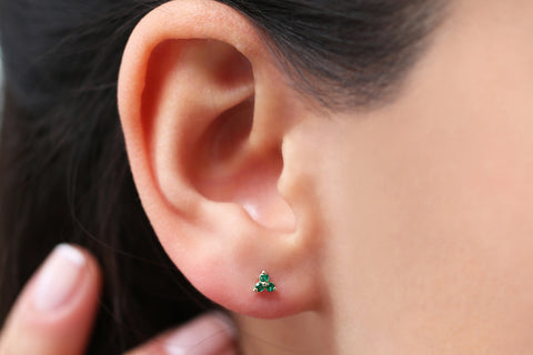 14K Gold Tiny Trio Emerald Earrings - Ferkos Fine Jewelry