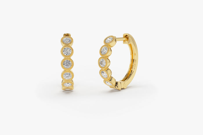 14k Gold Bezel Setting Diamond Hoop Earrings with Milgrain