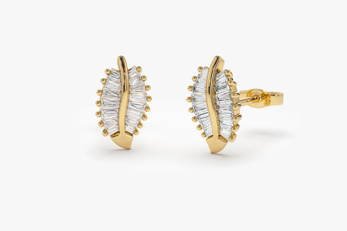 14k  Baguette Diamond Leaf Earrings
