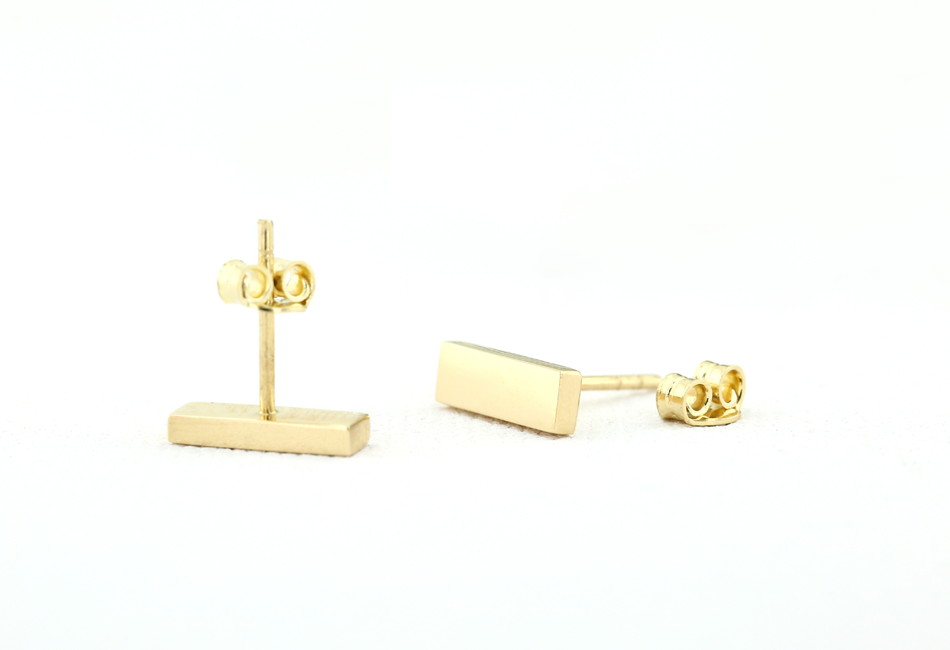 14k Gold Bar Stud Earrings - Ferkos Fine Jewelry