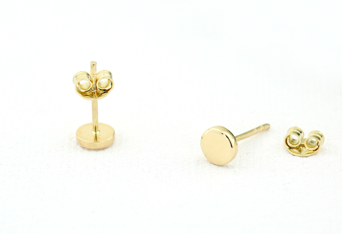 14K Gold Tiny Circle Stud Earrings - Ferkos Fine Jewelry
