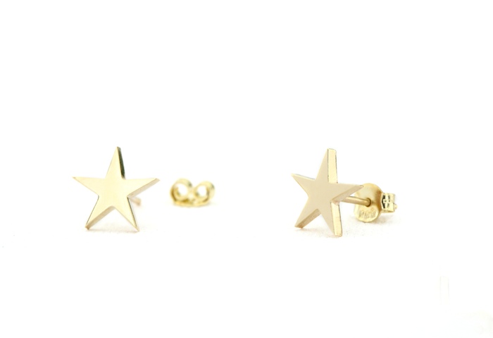 14k Small Gold Star Stud Earrings - Ferkos Fine Jewelry