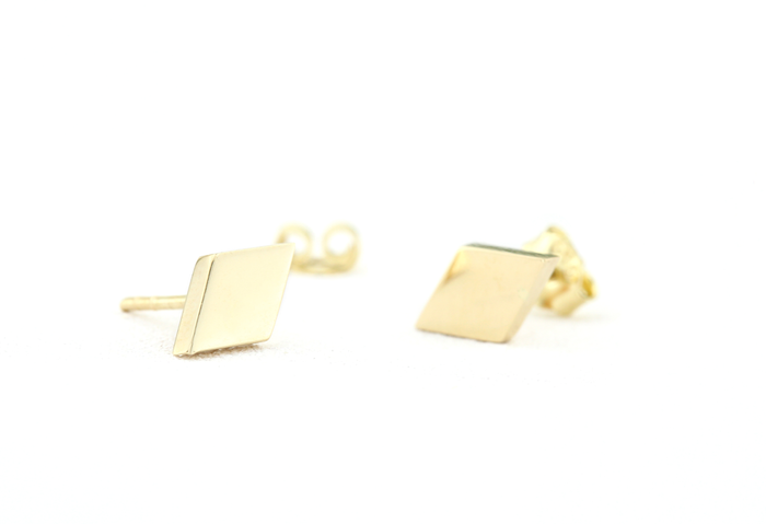 14K Gold Dainty Diamond Shaped Stud Earring - Ferkos Fine Jewelry