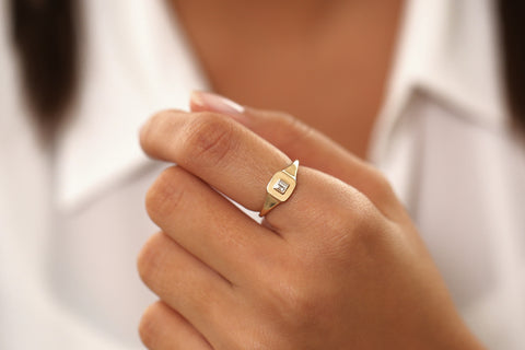14k Baguette Diamond Pinky Ring