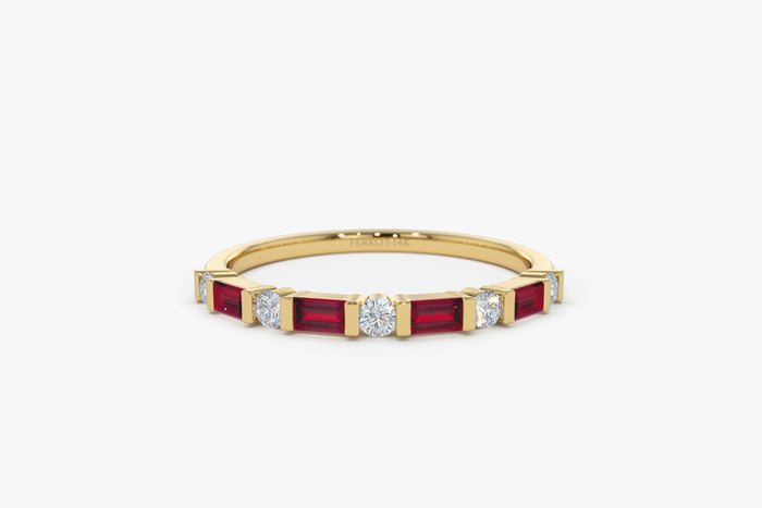 14k Ruby Baguette and Diamond Stackable Wedding Ring