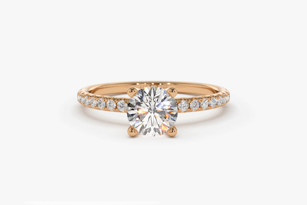 14K Petite Pave Engagement Ring