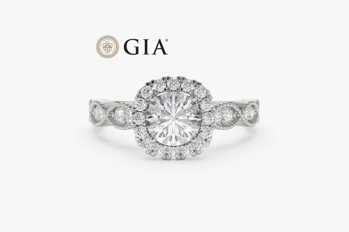 14K Art Deco Design Round Diamond Engagement Ring