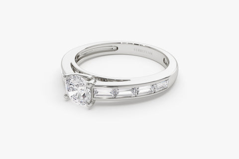 14k Channel Set Baguette Diamond Engagement Ring