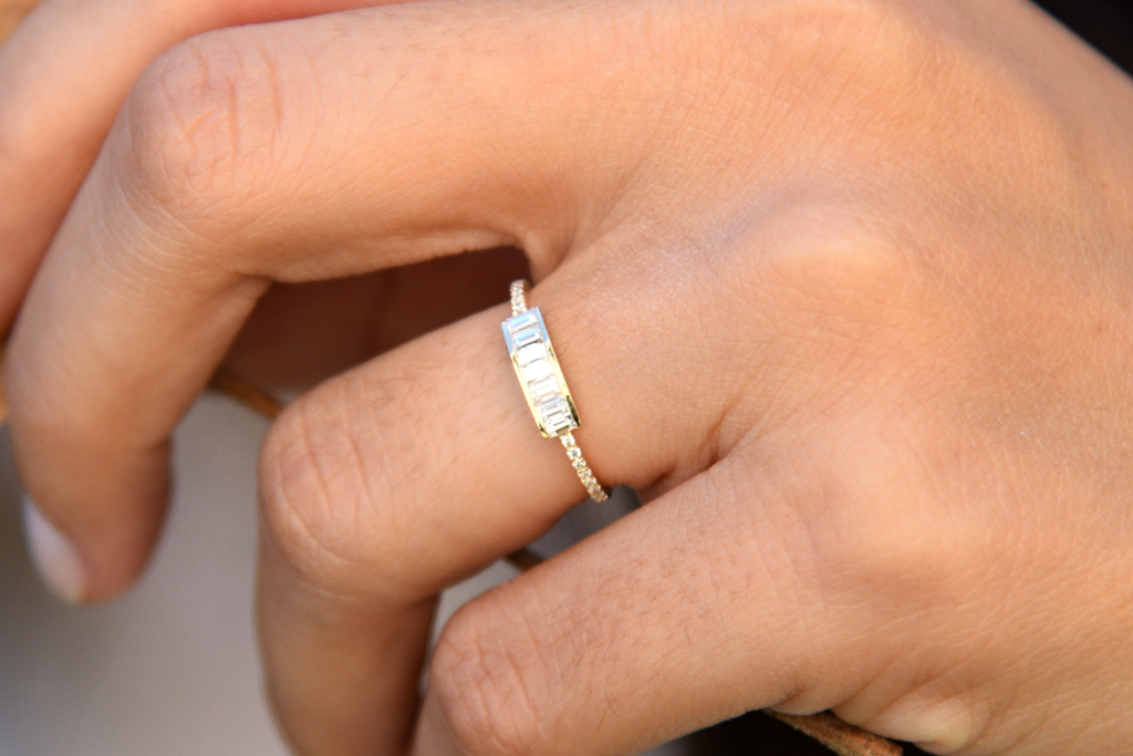 14k Channel Set Baguette Diamond Ring