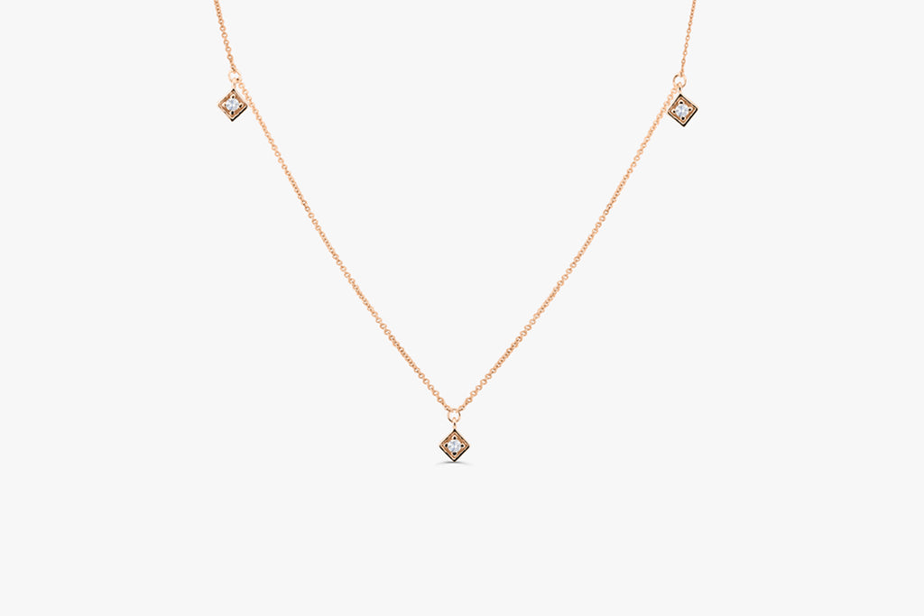 14k Diamond By The Yard Solitaire Necklace