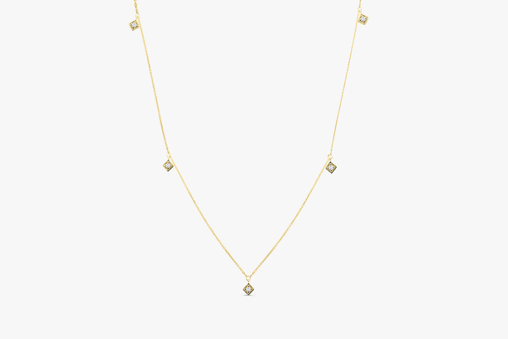 14k Diamond By The Yard Solitaire Necklace - Ferkos Fine Jewelry