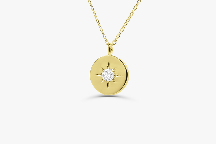 14k Gold Northstar Diamond Necklace - Ferkos Fine Jewelry