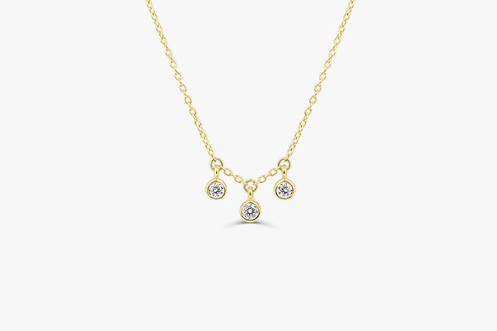 14k Dainty Diamond Dangle Necklace - Ferkos Fine Jewelry