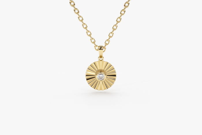 14K Gold Diamond Disc Ray Necklace - Ferkos Fine Jewelry