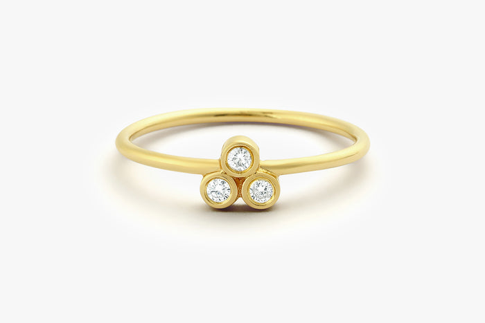 14K Gold Round Cut Diamond Trio Ring - Ferkos Fine Jewelry