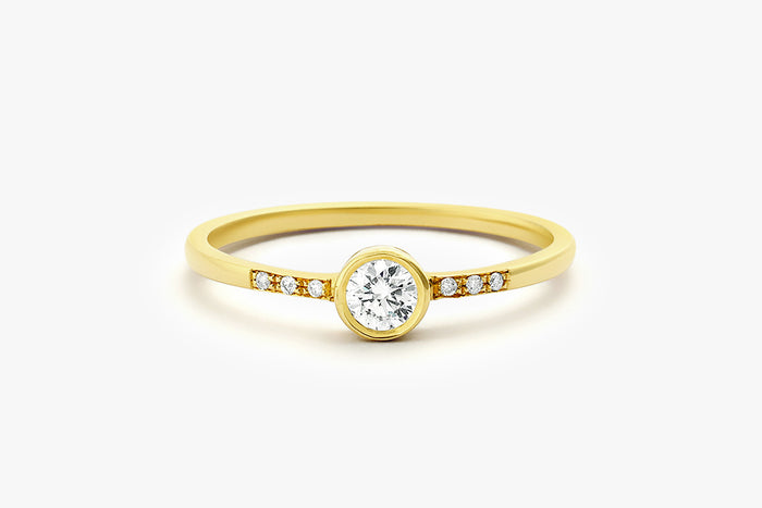 14k Round Cut Bezel Setting Diamond Engagement Ring - Ferkos Fine Jewelry