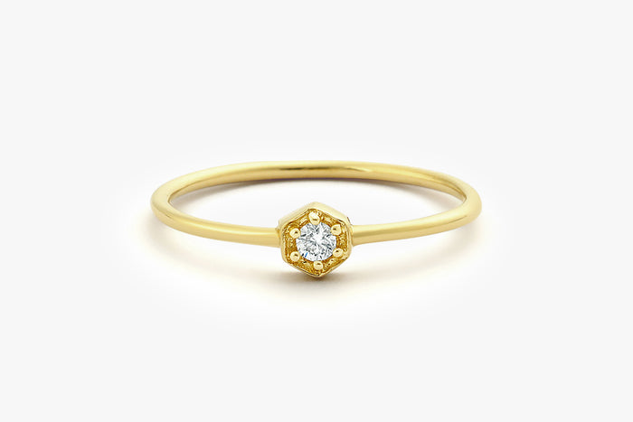 14k Hexegon Setting Diamond Solitaire Ring - Ferkos Fine Jewelry