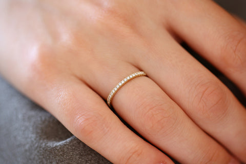 14K Gold 1.5MM Full Eternity Diamond Ring